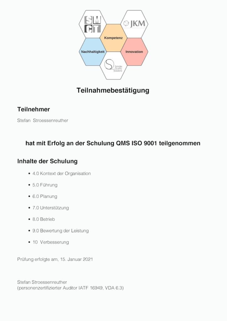 Zertifikat Schulung ISO 9001