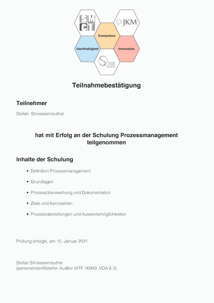 Zertifikat Prozessmanagement